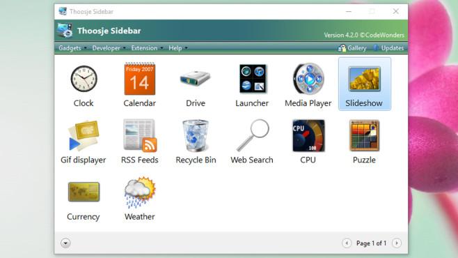 Thoosje Windows Sidebar 8 (2): Widgets einbinden ©COMPUTER BILD
