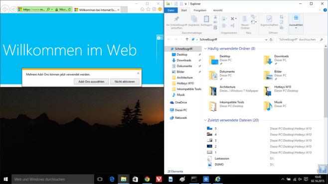 Windows + Links + Oben: Fenster auf ein Viertel Größe bringen ©COMPUTER BILD