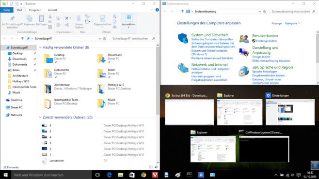Windows + Rechts + Oben: Fenster auf ein Viertel Größe bringen ©COMPUTER BILD