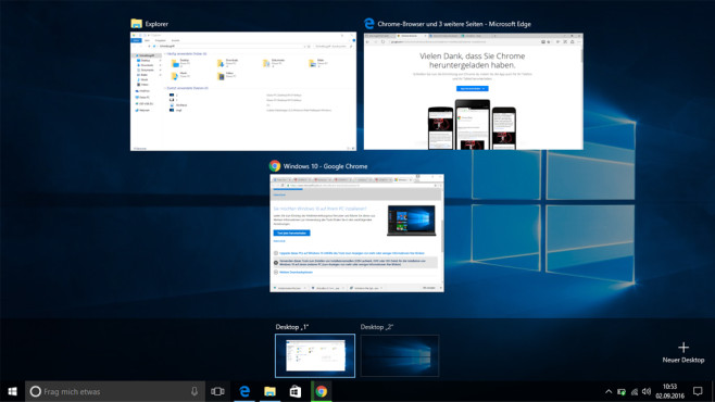 Windows + Tabulator: Virtuelle Desktops © COMPUTER BILD