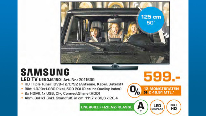 Samsung UE50J6150 ©Saturn