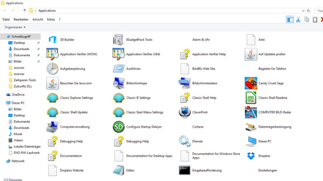 COMPUTER BILD-App-Starter: Alle Programme, Apps und Bordmittel zeigen ©COMPUTER BILD