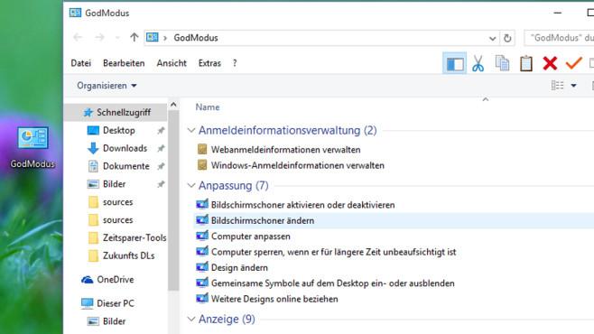 GodMode (Windows 10/8/7 & Vista): Erweiterte Systemsteuerung mit allen Einträgen ©COMPUTER BILD