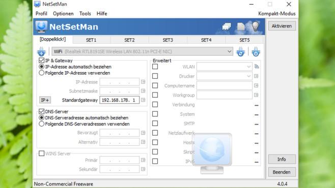 NetSetMan: Zwischen Netzwerk-Einstellungen wechseln ©COMPUTER BILD