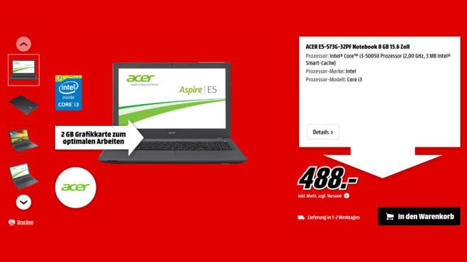 Acer E5-573G-32PF ©Media Markt