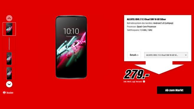 Alcatel One Touch Idol 3 ©Media Markt