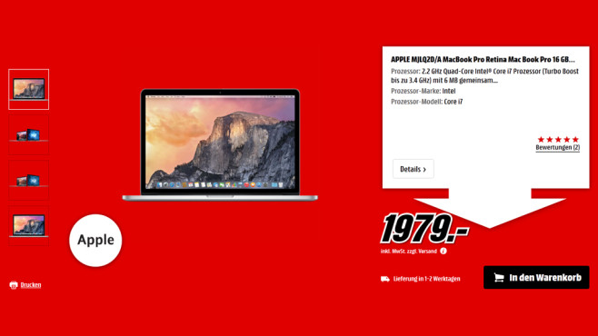 "Apple MacBook Pro 15"" Retina 2015 © Media Markt"