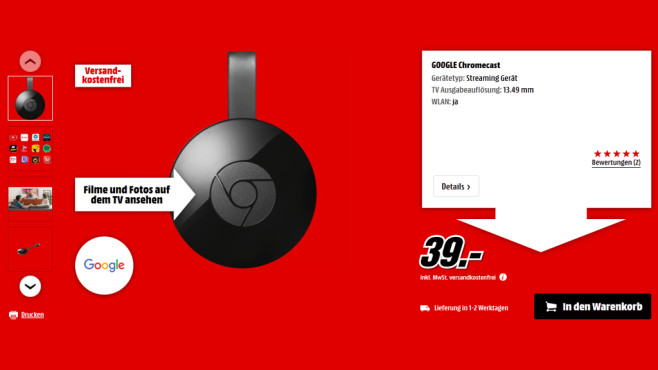 Google Chromecast 2 ©Media Markt