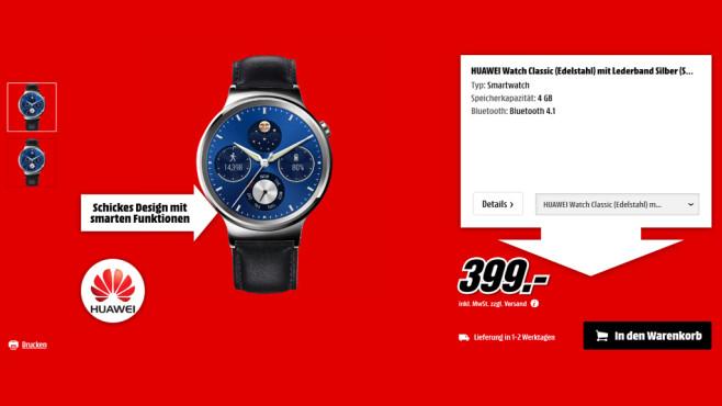 Huawei Watch Classic mit Lederarmband ©Media Markt