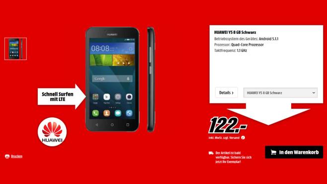 Huawei Y5 ©Media Markt