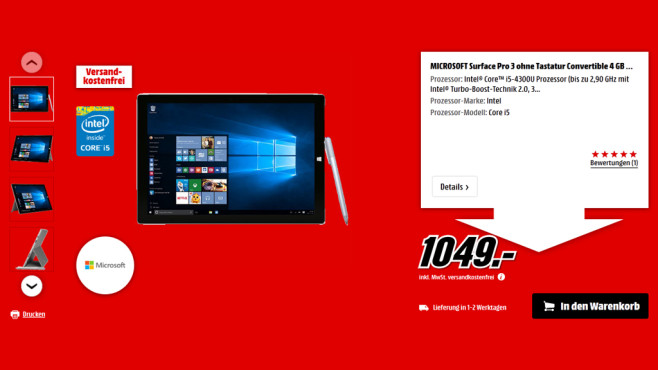 Microsoft Surface Pro 3 i5 128 GB © Media Markt
