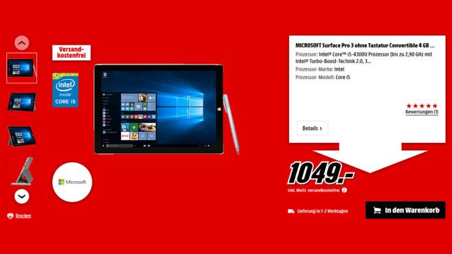 Microsoft Surface Pro 3 i5 128 GB ©Media Markt