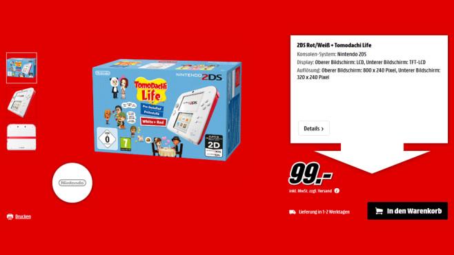Nintendo 2DS weiß-rot + Tomodachi Life ©Media Markt