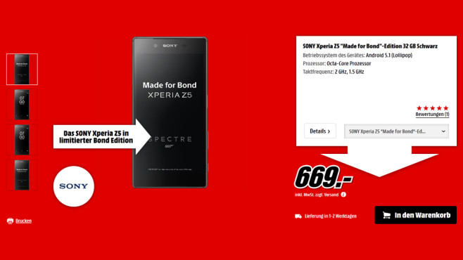 Sony Xperia Z5 - Made for Bond ©Media Markt