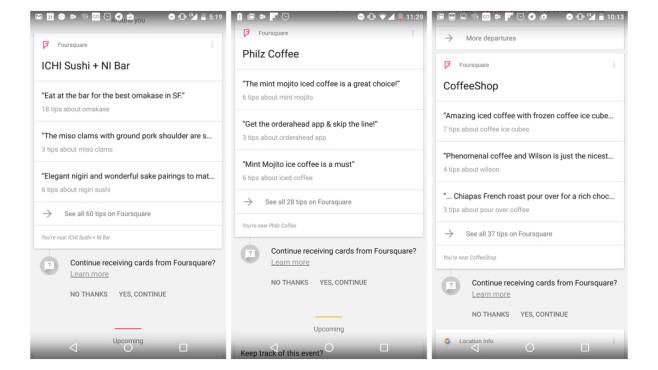 Google Now mit Foursquare ©VentureBeat