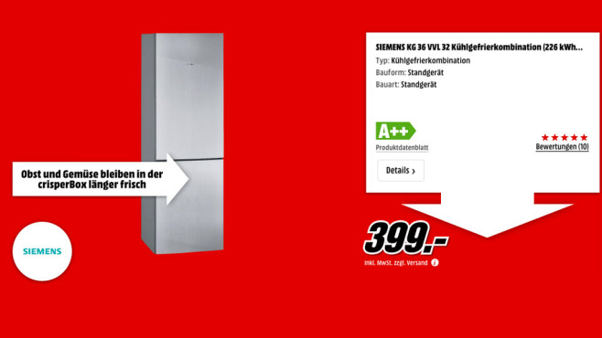 Siemens KG 36 VVL 32 ©Media Markt