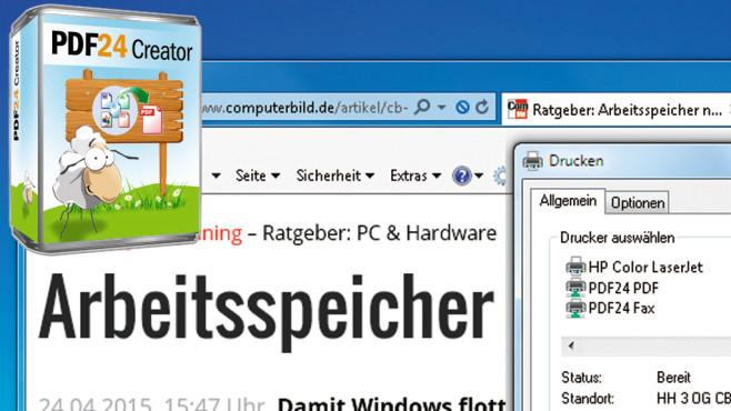 Mit PDF24 Creator Zum PDF Umwandeln ©Geek Software, Montage: COMPUTER BILD