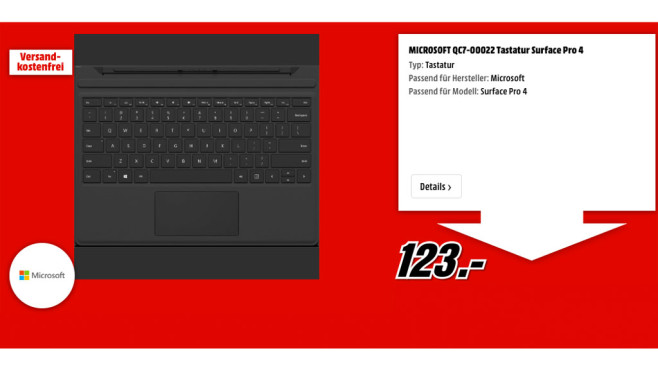 Microsoft QC7-00022 Tastatur Surface Pro 4 ©Microsoft