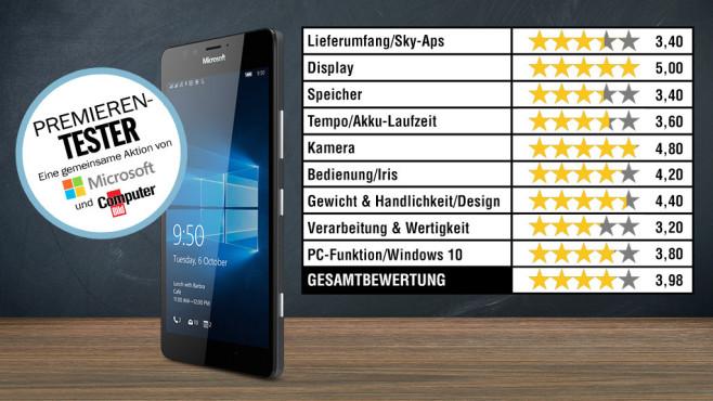 Testtabelle Microsoft Lumia 950 ©Microsoft, COMPUTER BILD