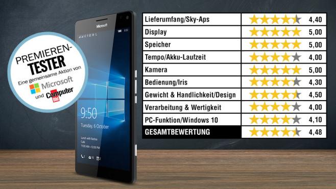 Testtabelle Microsoft Lumia 950 XL ©Microsoft, COMPUTER BILD