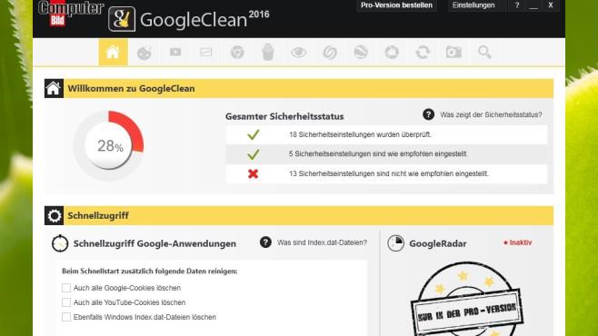 Platz 46: GoogleClean 2016 (COMPUTER BILD-Edition, neu) ©COMPUTER BILD
