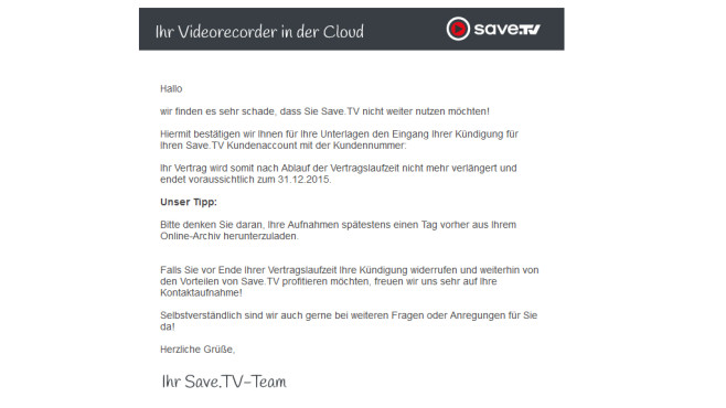 Save.TV-Account k�ndigen: Best�tigungsmail © Save.TV