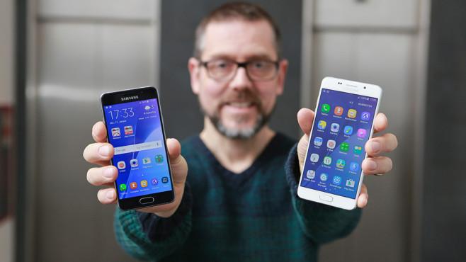 Samsung Galaxy A3 (2016) im Test: Ein S6 im Mini-Format Galaxy A3 (links) oder Galaxy A5: Welches ist für wen das Bessere? ©COMPUTER BILD