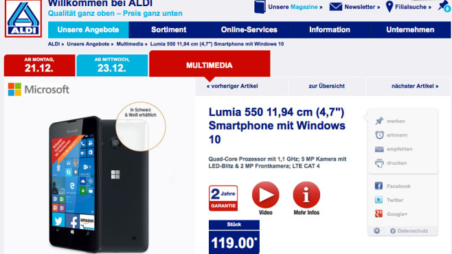 Lumia 550: Preisbrecher-Handy mit Windows 10 © Aldi