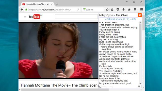 Lyrics Here für Firefox: Texte zum Mitsingen einblenden ©COMPUTER BILD