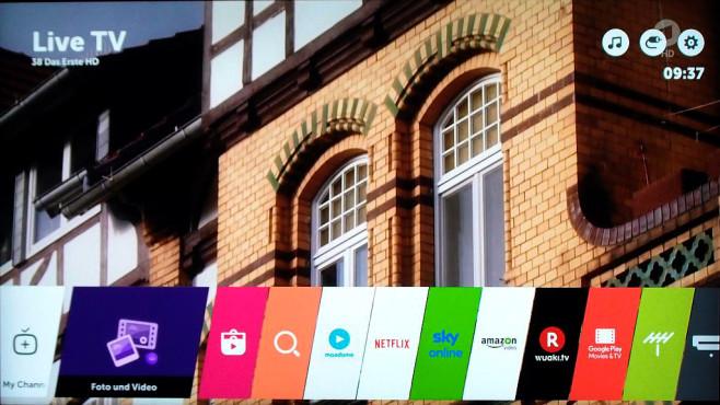 LG setzt auf UHD-Fernseher mit HDR: 55UH8509 im Test Der UH8509-Besitzer kann seine Lieblings-Apps etwa von abonnierten Streaming-Diensten in die Menüleiste legen und umstandslos starten. ©COMPUTER BILD