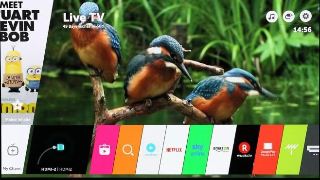 Das beste Fernsehbild aller Zeiten: Neuer LG OLED G6 im Test Ein Druck auf die Menütaste der Fernbedienung blendet auf dem LG Fernseher die Leiste mit den persönlichen Lieblings-Apps ein. ©COMPUTER BILD