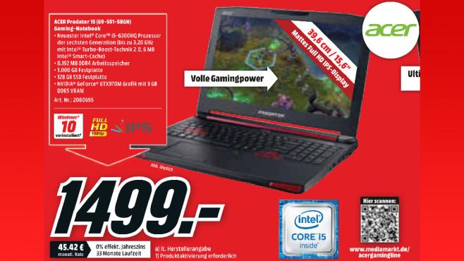 Acer Predator 15 (G9-591-58GN) ©Media Markt