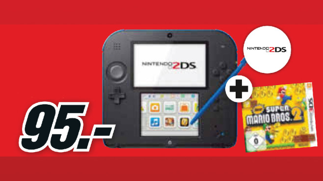 Nintendo 2DS schwarz-blau + New Super Mario Bros. 2 - Special Edition © Media Markt