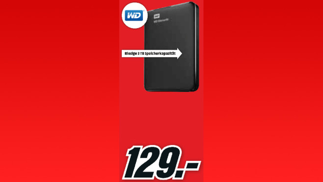 Western Digital Elements Portable 3TB © Media Markt