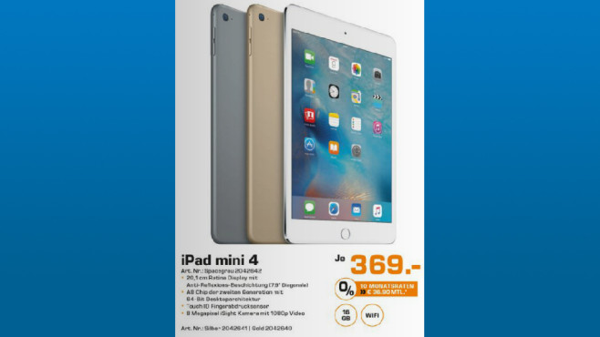 Apple iPad mini 4 16GB WiFi © Saturn