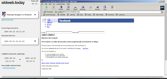 facebook.com 2005 © oldweb.today
