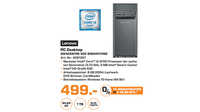 Lenovo IdeaCentre 300 90DA007KGE © Saturn