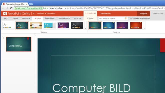Platz 34: Microsoft PowerPoint Online (neu) ©COMPUTER BILD