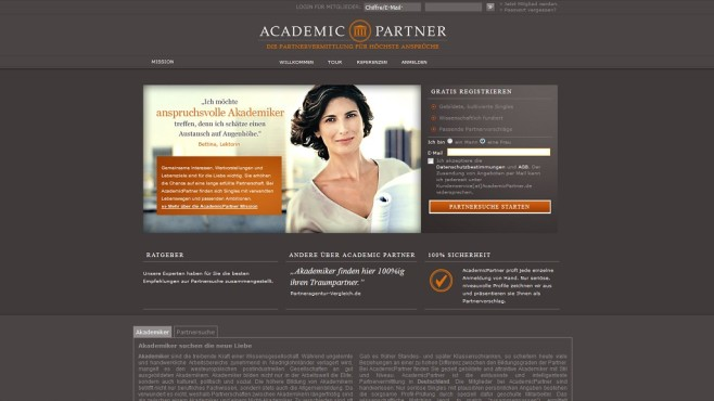 AcademicPartner © Screenshot www.academicpartner.de