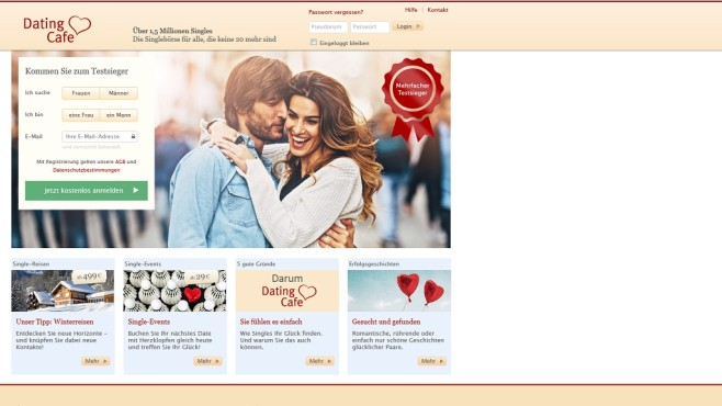 Dating Cafe © Screenshot www.datingcafe.de