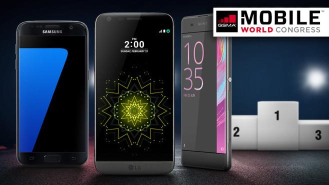 Welches ist das beste MWC-Smartphone? ©Samsung, Sony, LG, Zsolnai Gergely - Fotolia.com, lassedesignen - Fotolia.com, montego6 - Fotolia.com