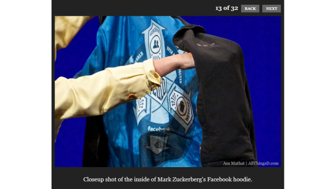Jacke mit Facebook-Logo © Screenshot: http://allthingsd.com/20100602/mark-zuckerberg-session/#slideshow-1-13