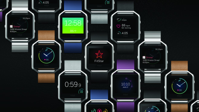 Fitbit Blaze mit verschiedenen Armbändern ©Fitbit