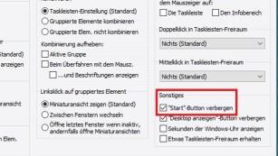 Windows 8.1/10: Startbutton entfernen ©COMPUTER BILD