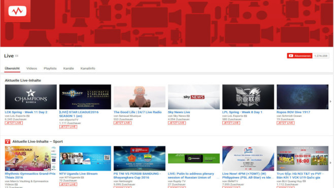 YouTube Live © Screenshot: YouTube