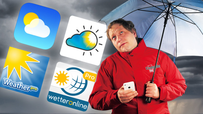 Wetter-Apps im Test © MeteoGroup, WetterOnline GmbH, Apalon Apps, The Weather Channel, COMPUTER BILD, Kurmyshov - Fotolia.com