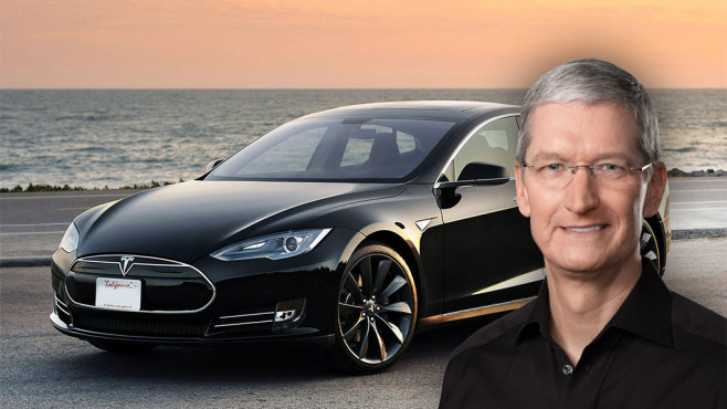 Tim Cook mit Tesla © Tesla Motors, Apple, COMPUTER BILD