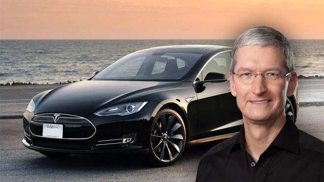 Tim Cook mit Tesla ©Tesla Motors, Apple, COMPUTER BILD