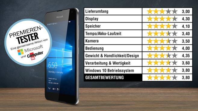 Bewertung Lumia 650 ©COMPUTER BILD, Microsoft