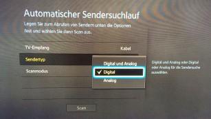 Unitymedia schaltet analoges Kabelfernsehen ab Praktisch alle Flachbildfernseher seit f�nf Jahren k�nnen auch digitales Kabelfernsehen (DVB-C) empfangen. Es gen�gt ein Suchlauf nach digitalen Sendern (im Bild bei einem Samsung-Fernseher). ©COMPUTER BILD